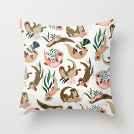 Otter Collection on White Throw Pillow