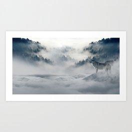 Photo of a wolf in a winter scene Art Print