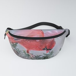 Cardinals Jostling on a Branch in a Snow Storm Fanny Pack