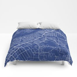 Riverside Map, USA - Blue Comforters