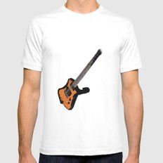 Guitar White SMALL Mens Fitted Tee