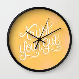 """""""Trust Your Gut"""" Motivational Typography Handlettering Quote Art (Yellow & White) Wall Clock"""