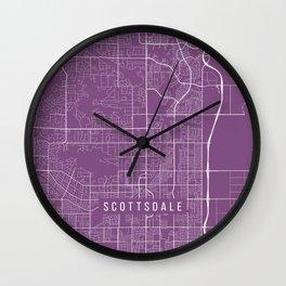 Scottsdale Map, USA - Purple Wall Clock