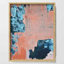 Delight [3]: a vibrant minimal abstract painting in blue and coral by Alyssa Hamilton Art Serving Tray