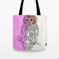techno Tote Bags featuring Techno Owl by Zeke Tucker
