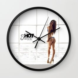 MOVEMBER Mustache BABE from Hot Fuzz Babes in Mustache Wall Clock