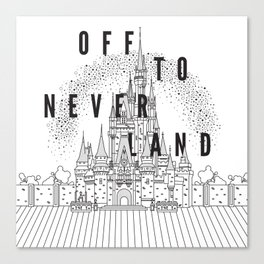 Off to Neverland: Black & White Canvas Print