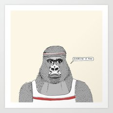 Gorillas love exercise Art Print