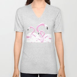 Soft Pink Flamingos Design Unisex V-Neck