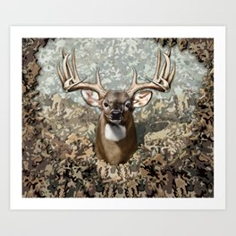 Whitetail Buck and Camo Art Print
