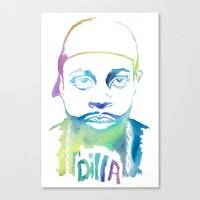 j dilla Canvas Prints featuring Dilla Dawg. by Dominique Berho