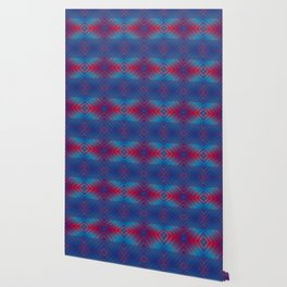 Dark Blue Red Boho Pattern Wallpaper
