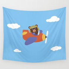 Bear in Airplane Wall Tapestry