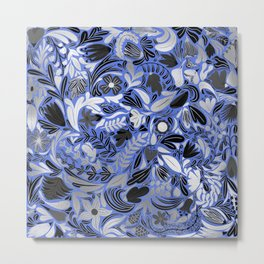 Silver Blue Floral Leaves Illustration Pattern Metal Print