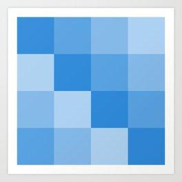 Four Shades of Light Blue Square Art Print
