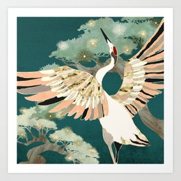 Golden Crane Art Print