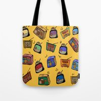 radio Tote Bags featuring Radio Show by andy_panda_