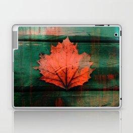 Rusty red dried fall leaf on wooden hunter green beams Laptop & iPad Skin