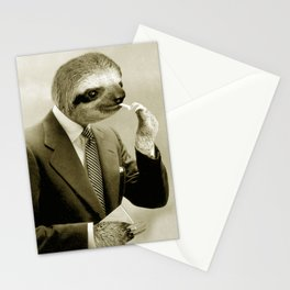 Sloth lighting a cigarette Stationery Cards