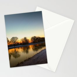 Winter sun early morning waterfront Stationery Cards