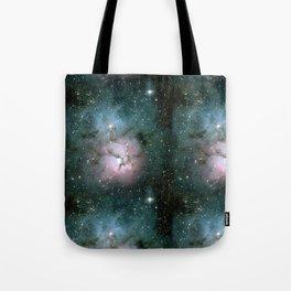 Green and Pink Burst Galaxy Tote Bag