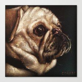 Pug Celebrated in Black Velvet Canvas Print