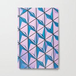 Pink Blue Geometric Triangle Pattern Metal Print