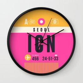 Baggage Tag A - ICN Seoul Incheon South Korea Wall Clock