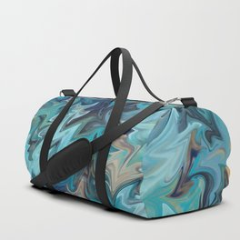 Blue and Gold Marble Pattern Duffle Bag