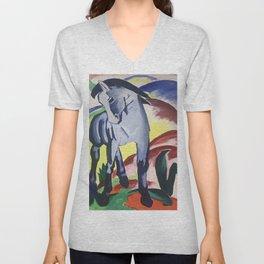 Blue Horse on a Colorful Background Unisex V-Neck