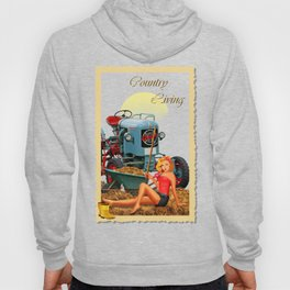 Pin Up Girl with tractor on the farm Hoody