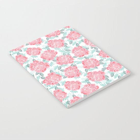 Peony Floral flower garden nature illustration painting free spirit boho college girly pink pastel  Notebook