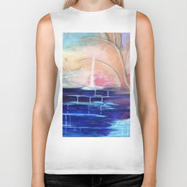 Flourescent Waterfall Painting. Waterfall, Abstract, Blue, Pink. Water. Jodilynpaintings. Biker Tank