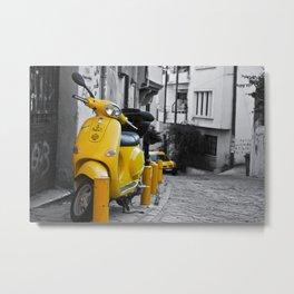 YELLOW MOTORCYCLE SCOOTER IN VINTAGE STREET Metal Print
