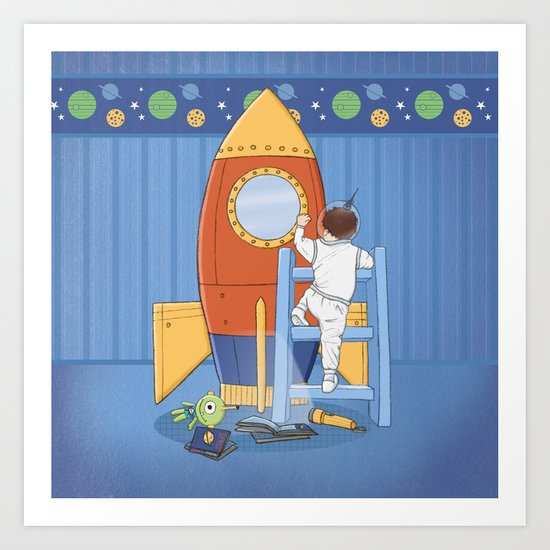 Goodnight, I'm going to my Space Rocket Art Print