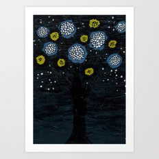 Dark Flower Tree Art Print