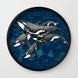 Orca Whales Family Indigo Vintage Map Wall Clock