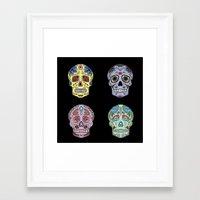 sugar skulls Framed Art Prints featuring Sugar Skulls by katherinejago