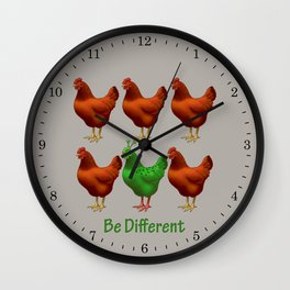 Funny Martian Chicken Be Different Motivational Art Wall Clock