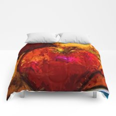 Red Apple and Gold Apples in a Blue Bowl Comforters