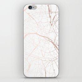 Paris France Minimal Street Map - Rose Gold Glitter iPhone Skin