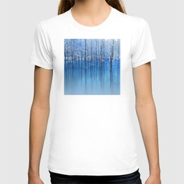 Winter Trees Glazed in Ice Reflecting in Pond T-shirt