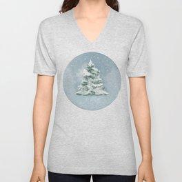 Winter pine tree Unisex V-Neck