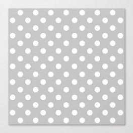 Polka Dots (White & Gray Pattern) Canvas Print