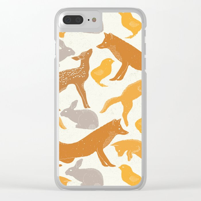 Deer Fox Rabbit Chick Playing Clear iPhone Case