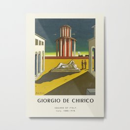 Poster-Giorgio de Chirico-Square of Italy. Metal Print
