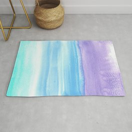 Purple Ultramarine Teal Watercolor Wash Rug