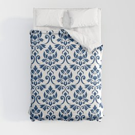 Feuille Damask Pattern Dark Blue on White Comforters
