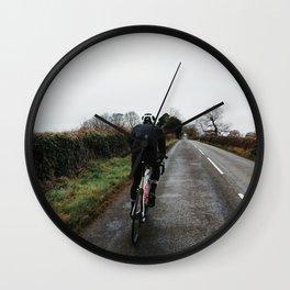 cycling on winter british lanes Wall Clock