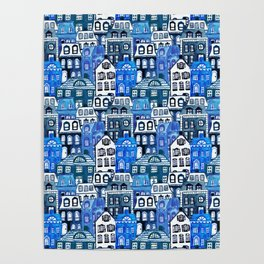 Mansard Village in Blue Watercolor Poster